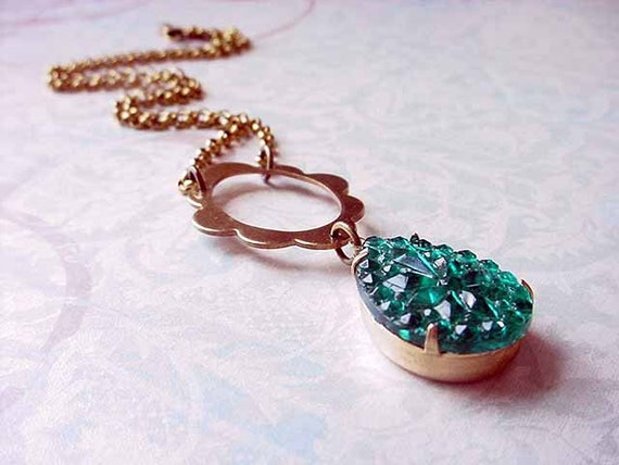 Teal Green Pendant - Gold Necklace - Emerald Green - Vintage Czech Pressed Glass Cabochon - Gift Box