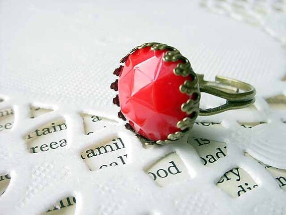 Red Cocktail Ring Adjustable Faceted Victorian Antiqued Brass Ring Gift for Her