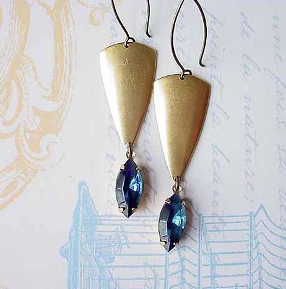Montana Blue Crystal Earrings  Vintage Navettes with Vintage Brass  Geometric Tribal Shields  Gift Box