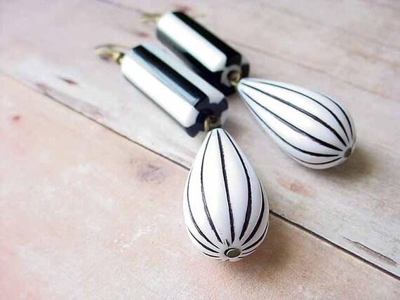 Black and White Stripe Earrings Modern Tear Drop Dangles