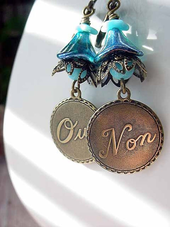 Blue French Earrings Oui Non Dangles Love Romantic Gift for Her