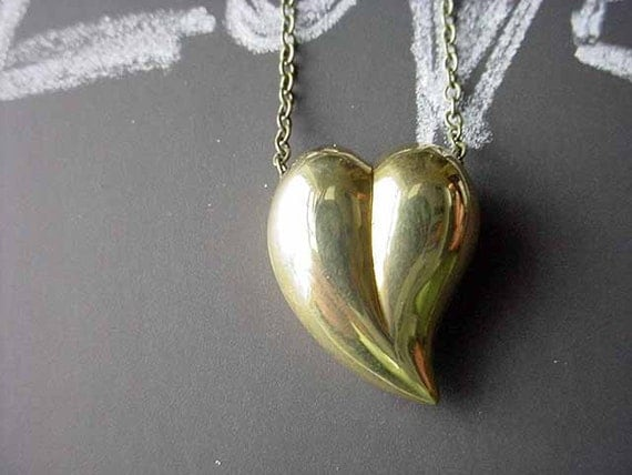 Gold Heart Pendant Two sided Vintage Brass Necklace Valentine's Gift for Her Love Gift Box
