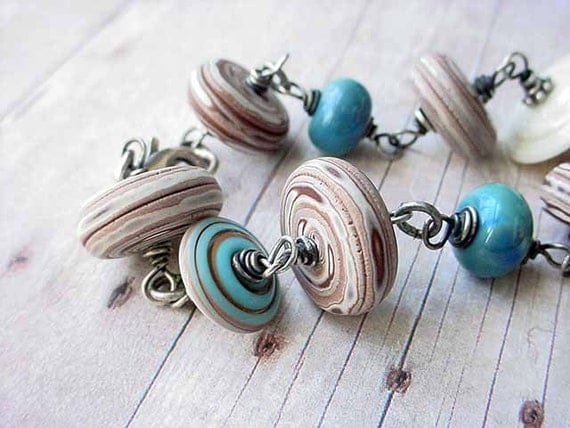 Whimsical Sterling Silver Wire Wrapped Bracelet Brown, Teal and Cream Swirls Lampwork Glass and Polymer Clay OOAK Gift Box