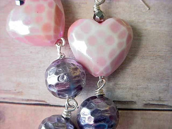 Pink Heart Earrings with Metallic Gray Grey Dangles Gift for Her Gift Box