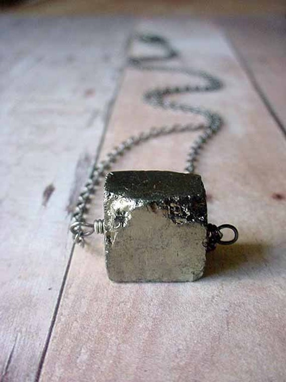 Pyrite Cube Pendant Rustic Metallic Silver Gold Gemstone Necklace Gunmetal Chain Unisex Gift Box