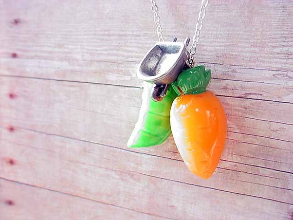 Peas and Carrots Pendant Vegetable Gardening Kitsch Necklace with Tiny Wheelbarrow