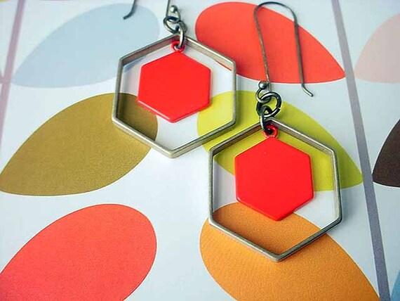 Geometric Earrings Tangerine Orange Hexagon Brass Modern Dangles Gift Box