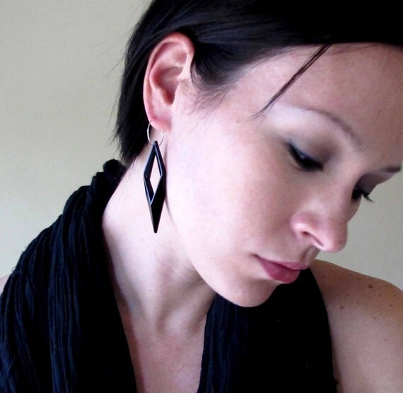 Retro Rhombus Earrings Geometric Modern Black Diamond Lucite gift for her