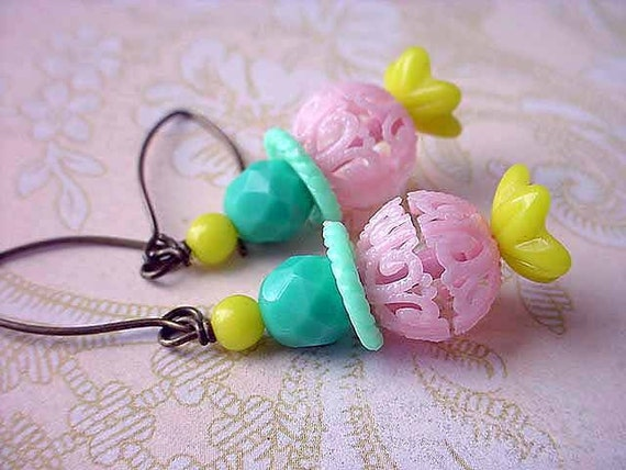 Pastel Overload Earrings Vintage Spring Plastic Retro Kitschy Filigree Pink, Yellow, Aqua Green Baubles