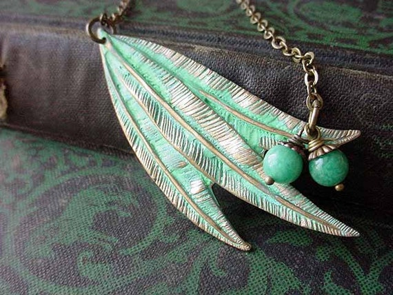 Willow Leaf Necklace  Verdigris Green Patina  Brass Willow Tree Stamping  Gift Box