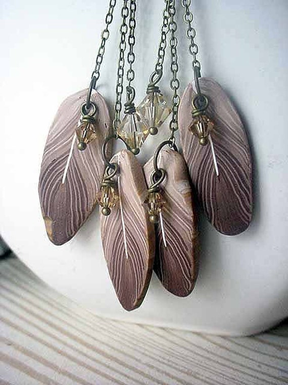 Sparrow Feather Earrings Boho Bohemian Brown Tribal Polymer Clay Dangles with Swarovski Crystals and Brass Chain Gift Box