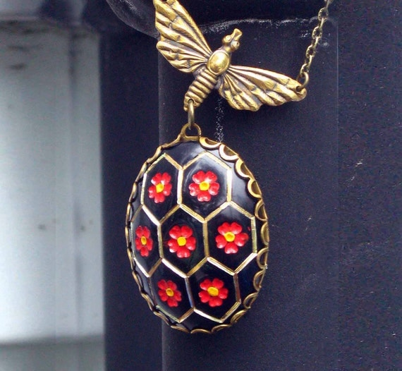 Haunted Honeycomb Pendant - Vintage Orange Red Black Yellow - Mod Necklace with Antiqued Brass Gold Bee