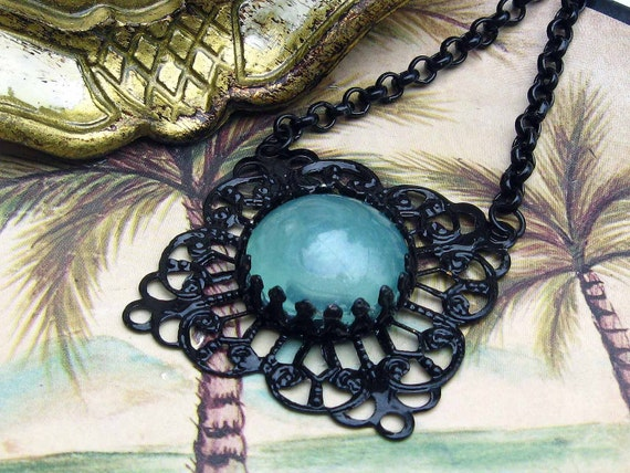 Black Enamel Filigree Pendant Goth Victorian Ornate Necklace with Absinthe Mint Green Moon Stone Cabochon and Thick Black Chain Gift Box