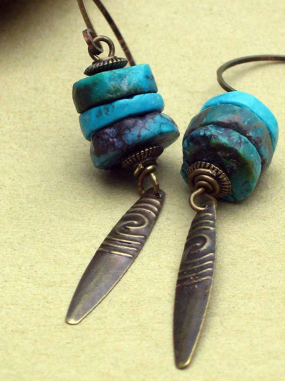 Turquoise Tribal Earrings Rustic Coins with Hammered Brass Spike Dangles