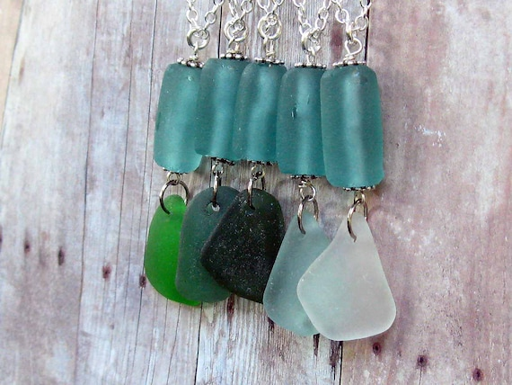 Sea Glass Pendant Aqua Blue Sea Green Bottle Green Glass Necklace with Silver Chain Summer Beach Wedding Bridesmaids Gift Box