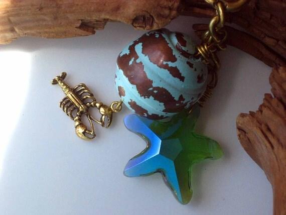 Nautical Keychain Crystal Starfish Rustic Buoy Brass Lobster Blue Green Turquoise Sea Star Keys Purse Charm Unisex