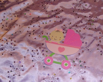 Baby Girl Sitting In A Carriage Scrapbooking Piece