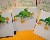 Ribbit  Set of Twelve Mini Tree Frog Thank You Cards hand stamped Great For Craft Sales