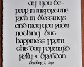 Custom calligraphy for Allora - Irish wedding blessing