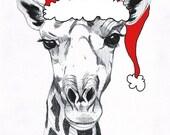 "Sassy Giraffe Christmas Card - 5""x7"""