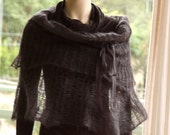 Knit Capelet Poncho Cowl Hoodie Charcoal Grey Black Kid Mohair