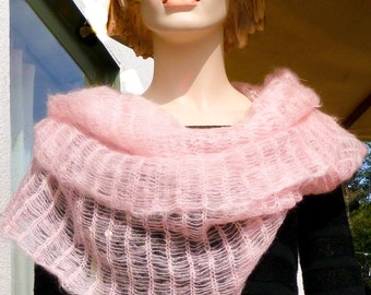 Fluffy Capelet Wrap Cowl Poncho Pale Ice Pink