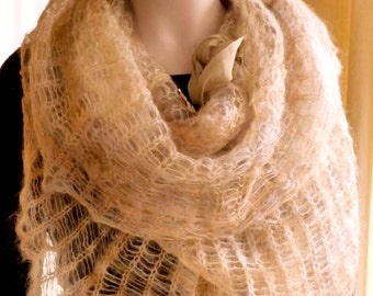 Knit Capelet Poncho Cowl Hoodie Honey and Camel Fluffy and Romantic