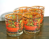 Vintage Georges Briard Set of 6 Glass Tumblers - Orange & Yellow German Folk Design