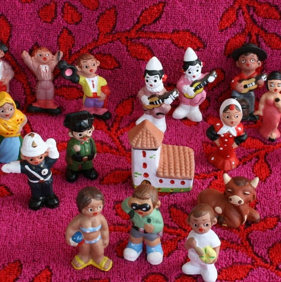 22 Piece Clay Miniature Village People Figurines from South of Spain