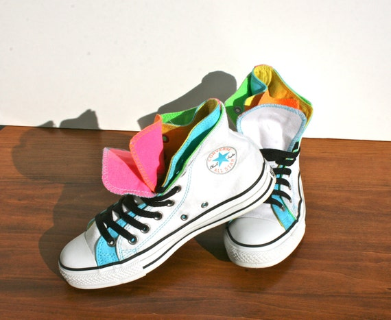 Vintage Converse All Stars - Break Dance Neon Double Upper Converse Chuck Taylor High Tops