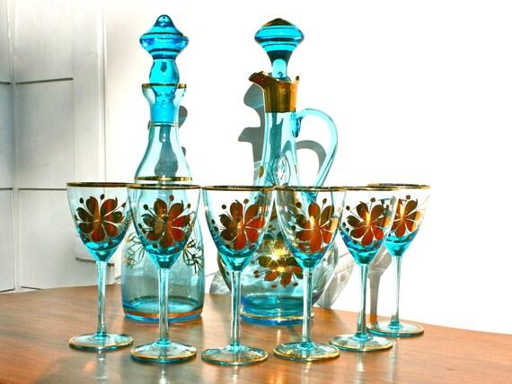Antique Romanian Blue Glass Decanter Set with Metallic Gold Details