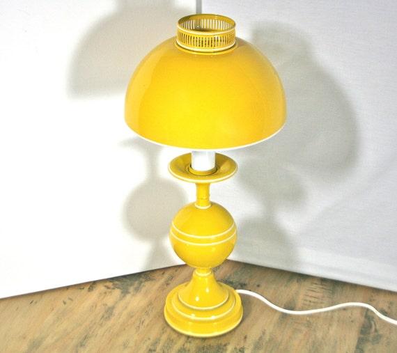 Vintage Bright Yellow Mushroom Lamp - Metal Dome Shade