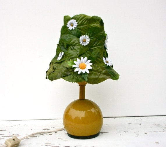 Mod Mustard Yellow Accent Lamp with Upcycled Green Leaf & White Daisy Shade