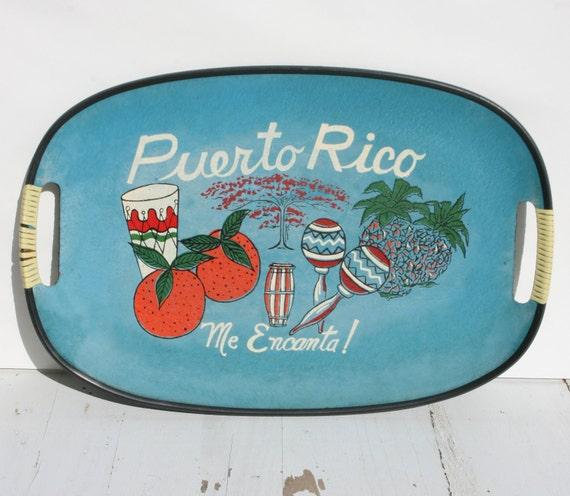 Vintage Souvenir Serving Tray - Mid Century - Puerto Rico - Me Encante