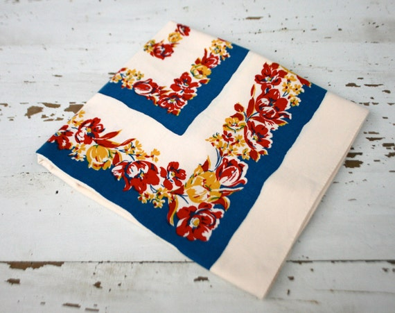 Vintage Bright Floral Table Cloth - Linen Card Table Square