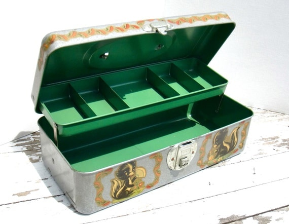Vintage Metal Tackle Box with Skunk Decals & Green Interior