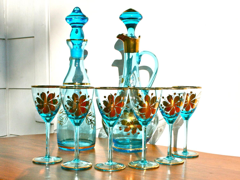 antique romanian blue glass decanter set with metallic gold. Black Bedroom Furniture Sets. Home Design Ideas