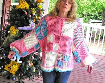 Pretty in Pink - Big Old Hand Crocheted Sweater