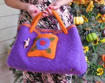 Knitting Tote -  Purple Passion - A Large Felted Handbag