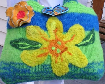 Gorgeous Flower Felted Bag A nice large felted purse with yellow flower Lima Beans and Blueberries