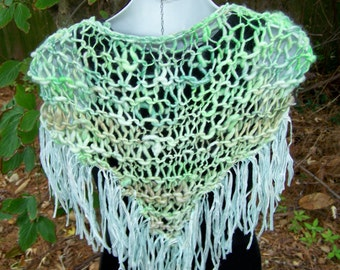 Colette  lovely fringe handknit handspun light green shawl with ribbons date night