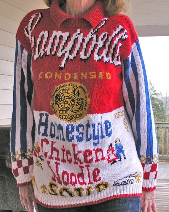 VINTAGE CAMPBELLS CHICKEN-NOODLE-SOUP SWEATER  (FREE US SHIPPING)
