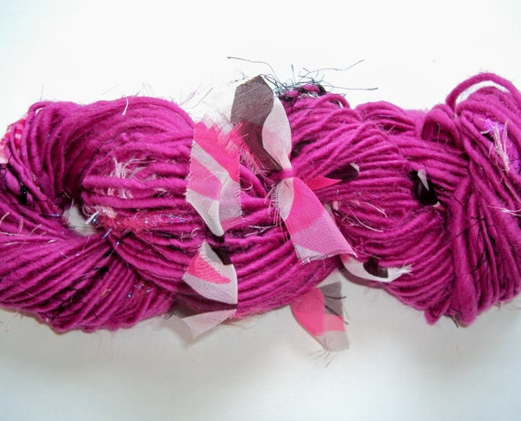 The Drunken Flamingo 72 YARDS of hot pink retro mod handspun art yarn with bows