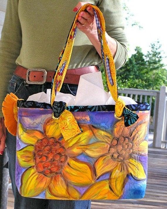HAND PAINTED Handbag -- Amber Loves Sunflowers