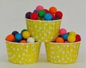 25 Yellow Polka Dot Baking Cups/Nut Cups