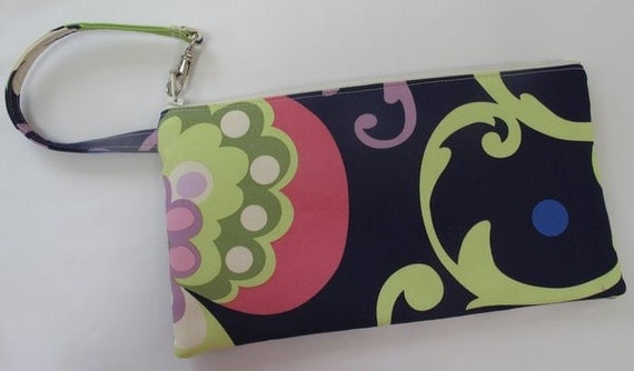 Wristlet in Amy Butler Paradise Garden in Midnight home dec weight (see shop annc. for free shipping offer)