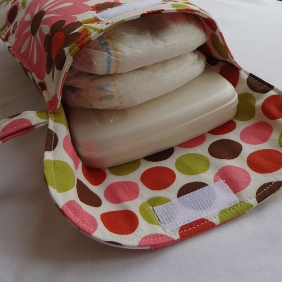 Diaper Wristlet in Riley Blake Indian Summer Main in Cream and Cream Big Dot (see shop annc. for free shipping offer)