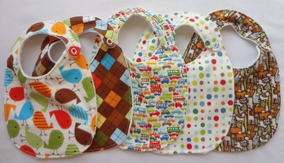 Baby Boy Gift Set - 5 Bibs with snap closures and minky backing (see shop annc. for free shipping offer)