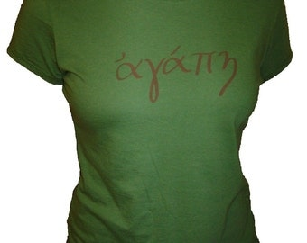 LOVE in Greek Organic Cotton and Organic Bamboo Women's Shirt in Green - Tshirt Size S, M, L, XL - Womens Christian Shirt