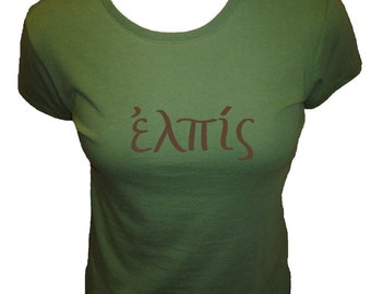 HOPE in Greek Organic Cotton and Organic Bamboo Women's Shirt in Green - Tshirt Size S, M, L, XL - Christian Womens Shirt
